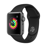 Apple Watch Series 3 38mm Space Grey Aluminium Case with Black Sport Band (MQKV2)